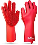 Magic SakSak Reusable Silicone Dishwashing Gloves | Pair Of Rubber Scrubbing Gloves For Dishes | Wash Cleaning Gloves With Sponge Scrubbers For Washing Kitchen, Bathroom, Car and More, Red, 14.5 Inch