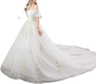mylyfu Robes de Mariée Élégantes Pour Femmes, Robes de Mariée, Col en V, Manches Longues, Robe de Mariée Appliques en Dent...