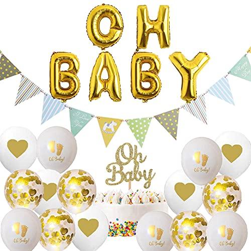 Babyparty Deko Neutral Oh Baby Girlande Tortendeko Babyparty Oh Baby Deko Luftballoons Set für Taufe Deko Baby Shower Dekoration
