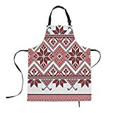 oFloral Aprons Embroidered Texture Apron Cross-Stitch Ethnic Ukraine Pattern Kitchen Bib with Adjustable Neck for Cooking Gardening, Adult Size
