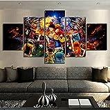 YHUJIK 5 Paneles murales Animación One Piece 5 Impresiones en Lienzo HD imágenes Modernas decoración del hogar Lienzo Impreso Pinturas en Lienzo.150x80 cm