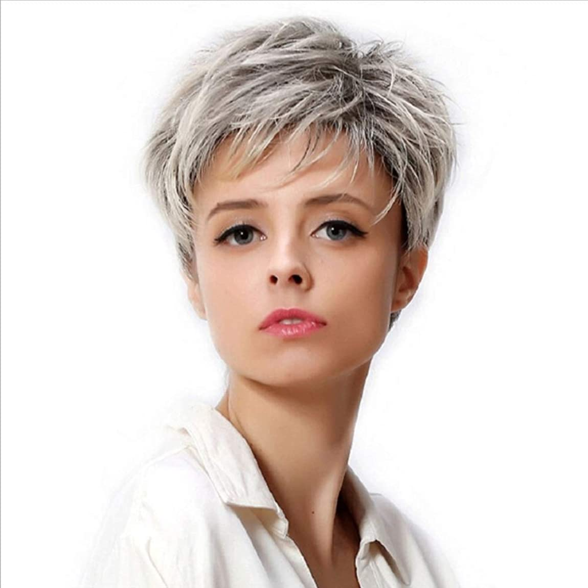 浪費わかりやすい隠WASAIO 女性の短い銀のかつらグレー合成繊維ふわふわ髪のかつら (色 : グレー)