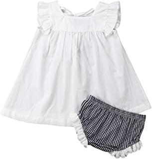 YOUNGER TREE Newborn Infant Baby Girl Summer Short Pants Set Dress + Tutu Pants Kids Short Clothes