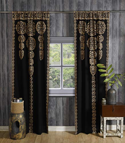 Labhanshi Black Gold Moroccan Medallion Floral Ombre Mandala Window Curtains Tapestry Indian Drape Balcony Room Decor Divider Sheer Wall Hanging