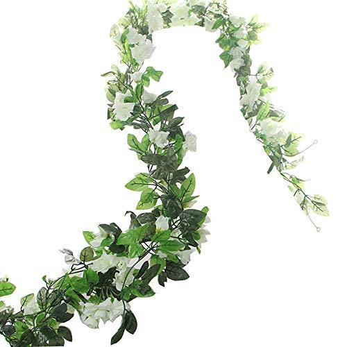 BlueXP 2 Pièce 230cm Guirlande de Roses Artificielles avec Feuilles Vertes à Suspendre Fleur Guirlande en Soie Lierre Vigne pour Maison Cour Clôture Noël Décoration de Jardin de Mariage Blanc