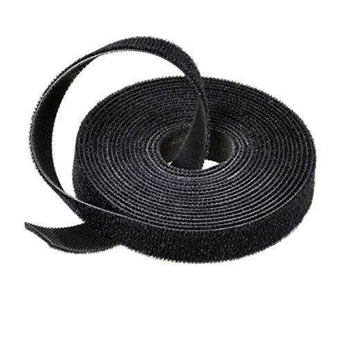 Organizador de cables de nailon de plástico Enrollador de cables Sujetadores de cables Cinta de cinturón Sellos de correa de alambre Gestión de escritorio de oficina - Negro - 1,45 cm x 2 m