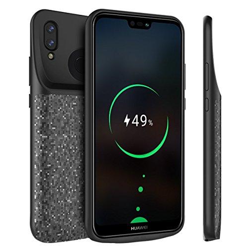 BasicStock Huawei P20 Lite/Nova 3e Akku Hülle, Dünne 4700mAh Wiederaufladbar Batterie Hülle Schutzsicherung Ladegerät Batterie Hülle Ersatz Schutzhülle für Huawei P20 Lite/Nova 3e (Schwarz)