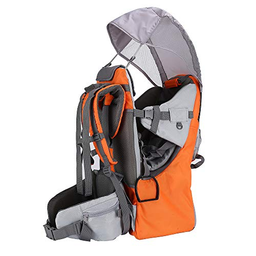 Baby Carrier, Baby Toddler Hiking Backpack Carrier Rain Cover Child Sun Shield Holds up to 40 Pound Ideal for Children Between 6 months-4 years Old (orange)