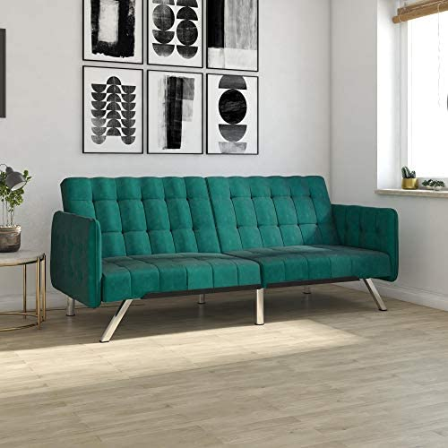 DHP Emily Convertible Futon and Sofa Sleeper Modern Style with Tufted Cushion Arm Rests and product image