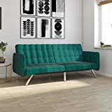 DHP Emily Convertible Futon and Sofa Sleeper, Modern Style with Tufted...