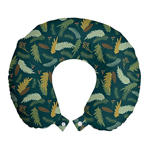 ABAKUHAUS Blumen Reisekissen Nackenstütze, Zierpflanzen Leaves, Schaumstoff Reiseartikel für Flugzeug und Auto, 30x30 cm, Jägergrün Multicolor