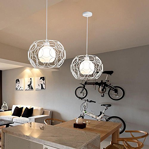 Rétro lampe suspension design anneau circulaire creux 1 flamme lampe antique suspendu lampe éclairage plafond lampe suspension E27 à manger lampe chambre fer blanc vintage et boule de verre Abat Efficacité énergétique: A ++