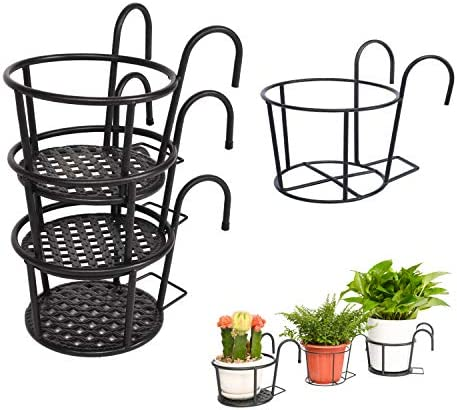 Klvied Outdoor Plant Stand 3 Pack with 1 Free Hanging Baskets Flower Pot Stand Indoor Plant product image