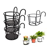 Klvied Outdoor Plant Stand, 3 Pack with 1 Free Hanging Baskets Flower Pot Stand, Indoor Plant Holder Stand, Mid Century Modern Plant Stand for Patio Garden, Corner Balcony, Living Room, Bedroom, Black