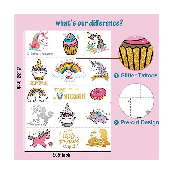 Partywind 30 Styles Metallic Glitter Temporary Tattoos for Kids,Unicorn Birthday Party Supplies Decorations for Girls… 9