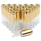JIUWU 10ml 1/3 Oz 25pcs Set Empty Refillable Clear Glass Dropper Bottle Essential Oil Aromatherapy Vials Cosmetics Jar Pot Container with Gold Pressure Pump and Tip Glass Eye Dropper