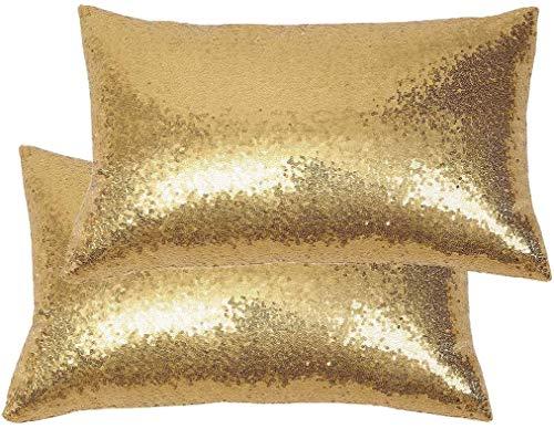 Eternal Beauty|2 fundas de cojín cuadradas de lentejuelas de 30 cm x 50 cm, funda de almohada para decoración del hogar, fiesta con cremallera invisible, color dorado (30 cm x 50 cm)