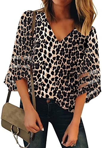 luvamia Women s Casual V Neck Tops 3 4 Bell Sleeve Mesh Panel Shirts Loose Tops Blouses A Leopard product image
