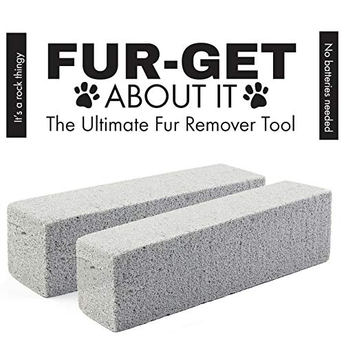 Fur-Get-About-It Pet Hair Remover For Laundry Furniture And Automotive - Dog Hair Remover And Cat Hair Remover - Pumice Stone Is The Ultimate Fur Remover Tool - Best Lint Brush Alternative (2-Pack)