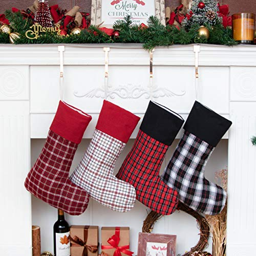 JEKOSEN 2020 New Christmas Stockings Set of 4 Large Plaid Xmas Stocking Farmhouse/Rustic/Country for Christmas Home Decor, Handmade Ornament Decorations Fireplace Hanging