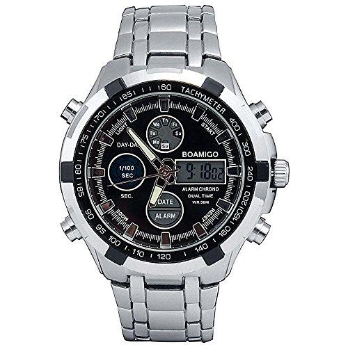 GAOHAILONG Orologi da Uomo Orologi Sportivi Dual Time Quarzo Digitale LED Watch Stainess Polso della Fascia d'Acciaio Reloj Hombre, Black
