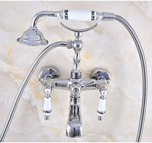 Grifo de latón cromado pulido Manijas de cerámica dobles Montado en la pared Pie de garra Grifo mezclador de bañera con ducha de mano