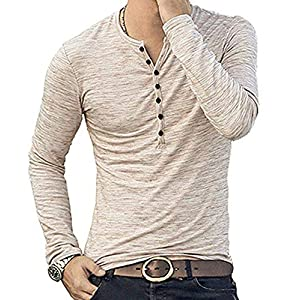 Men's Casual Slim Fit Basic Henley Short/Long Sleeve Fashion T-Shirt
