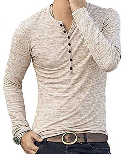 MLANM Mens Casual Slim Fit Basic Henley Long Sleeve T-Shirt X-Large, Khaki