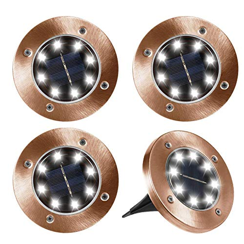 Outdoor Solar Lights, Newfen 4Pack Bronze Waterproof Led Solar Powered In-ground Lights for Pathway Lawn Yard Landscape Path Decorative