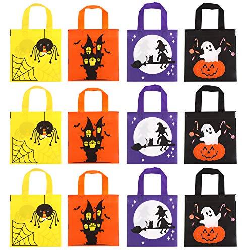 LOKIPA ギフトバッグ 巾着袋 ハロウィン 12枚セット かぼちゃ- 幽霊 魔女 20x23cm キャンディバッグ お菓子バッグ お菓子入れ キッズ プレゼント 贈り物