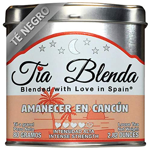 TIA BLENDA - AMANECER EN CANCÚN (80 g) - Exquisito TÉ NEGRO Indio Assam BOP Premium con PIÑA y COCO. Té en hojas. 40 - 50 tazas. Presentación premium en lata. Loose Tea Caddy
