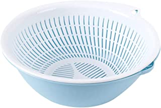 Kitchen Colander Strainer Basket Double Layer Plastic Washing Strainer Rice Fruit Vegetable Wash Drain Basket Draining Bowl Set Fruit Storage Basket Drain Kitchen Utensils for Daily Use (Blue)