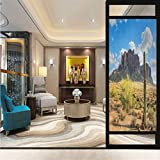23.6' W x 78.7' L inches,Glass Sticker,Home Office Glass Door Sticker,Saguaro,Famous Canyon Cliff with Dramatic Cloudy Sky Southwest Terrain Place Nature,Brown Green Blue