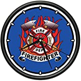 Firefighter Wall Clock fire House Fireman Rescue Gift