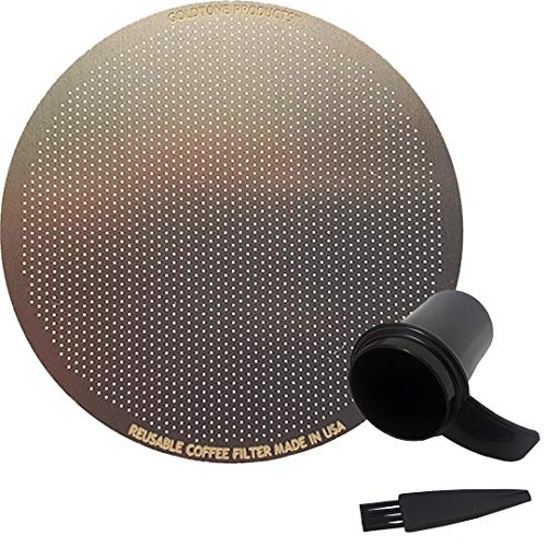 GOLDTONE Stainless Steel Reusable Disk Coffee Filter for Aero Press Coffee and Espresso Makers, includes 1 oz Scoop and Brush