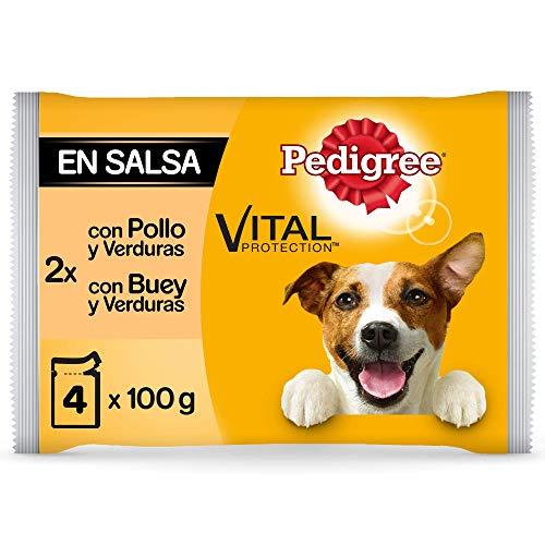 Pedigree Comida húmeda para Perros Sabor Pollo y Buey con Verduras en Salsa, Multipack (13 Packs x 4 bolsitas x 100g) 🔥