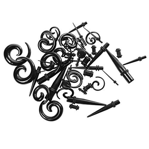 Milageto Juego de 54 pendientes de aro con forma de espiral de acrílico