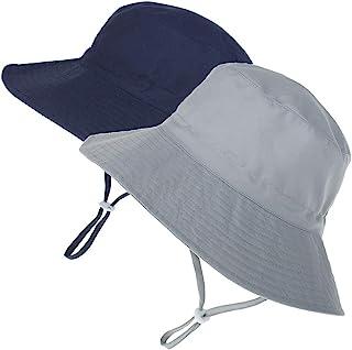 MaxNova Baby Sun Hat Toddler Summer UPF 50+ Baby Girl Bucket Hat Wide Brim Beach Hats for Baby Boys 0-5 Years 2pack