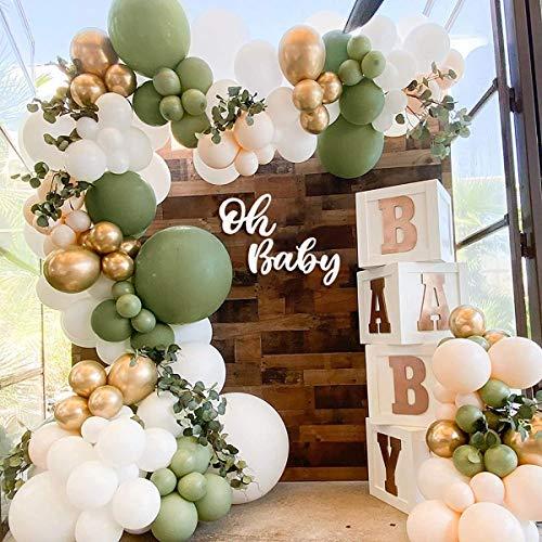 Kit de arco de guirnalda de globos verde salvia, 152 piezas de arco de globos verde oliva con globo de látex blanco Globo de látex metálico dorado para niños, niñas, baby shower, cumpleaños