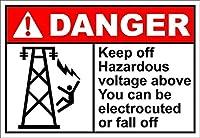 通知サインインチ、危険サインの上の危険な電圧を避けてください、ヴィンテージブリキの壁のサインレトロアート鉄の絵画金属警告プラークの装飾ホームヤードストアバーコーヒーハウス