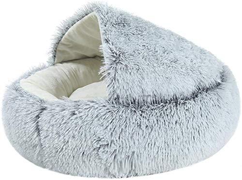 EREW Cama para mascotas, cama para gatos, casa semi cerrada, nido redondo suave y cómodo, tienda de campaña para mascotas con autocalentamiento, diseño de seguridad,