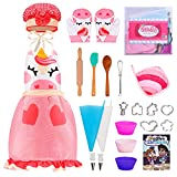 JOYIN 23 Pcs Unicorn Kids Baking and Cooking Sets for Girls with Apron, Oven Mitt, Chef Hat, Baking Utensils, Cookie Cutters, Cooking Book and More, Kids Chef Dress Up and Baking Accessories