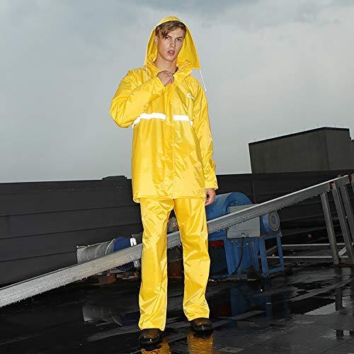 Goldenla Fashion Split Regenjas Mannen en Vrouwen Rijden Waterdichte Regenjas Regenbroek Pak XXL Geel