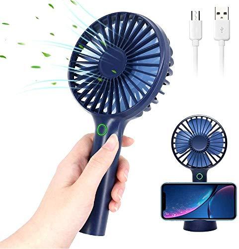BIGMALL Mini Ventilador De Mano USB Ventilador Portátil Personal Recargable, Ventilador De Escritorio De 3 Velocidades con Base para Teléfono Base De Flujo De Aire Potente