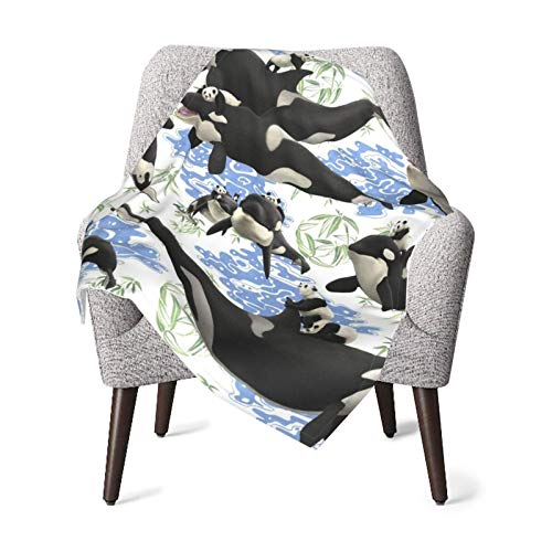 XCNGG Mantas para bebés edredones para bebésPanda Riding Orca Whale Printed (2) Baby Blanket All Season, Super Soft Warm Cozy Blanket for Infant, Newborn or Kid, Receiving Blanket for Crib, Stroller,