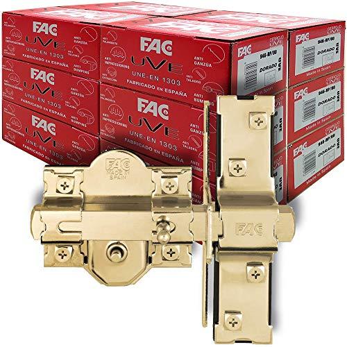 FAC SEGURIDAD - Caja de cerrojos para puertas UVE antibumping FAC Seguridad modelo 946-RP/80 dorado (12 unidades)