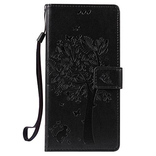Snow Color Huawei/Google Nexus 6P Hülle, Premium Leder Tasche Flip Wallet Hülle [Standfunktion] [Kartenfächern] PU-Leder Schutzhülle Brieftasche Handyhülle für Huawei Nexus 6P - COKT011268 Schwarz