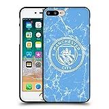 Head Case Designs Licenciado Oficialmente Manchester City Man City FC Azul Blanco Mono Insignia de mármol Funda de Gel Negro Compatible con Apple iPhone 7 Plus/iPhone 8 Plus