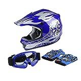 XFMT Youth Kids Motocross Offroad Street Dirt Bike Helmet Goggles Gloves Atv Mx Helmet Blue Skull S