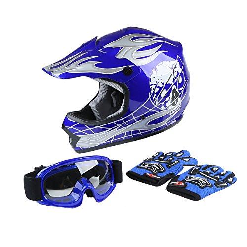 XFMT DOT Youth Kids Motocross Offroad Street Dirt Bike Helmet Youth Motorcycle ATV Helmet with Goggles Gloves Blue Skull XL